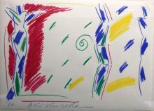 Original Aki Kuroda (Japan, b. 1944) Oil Pastel on Paper