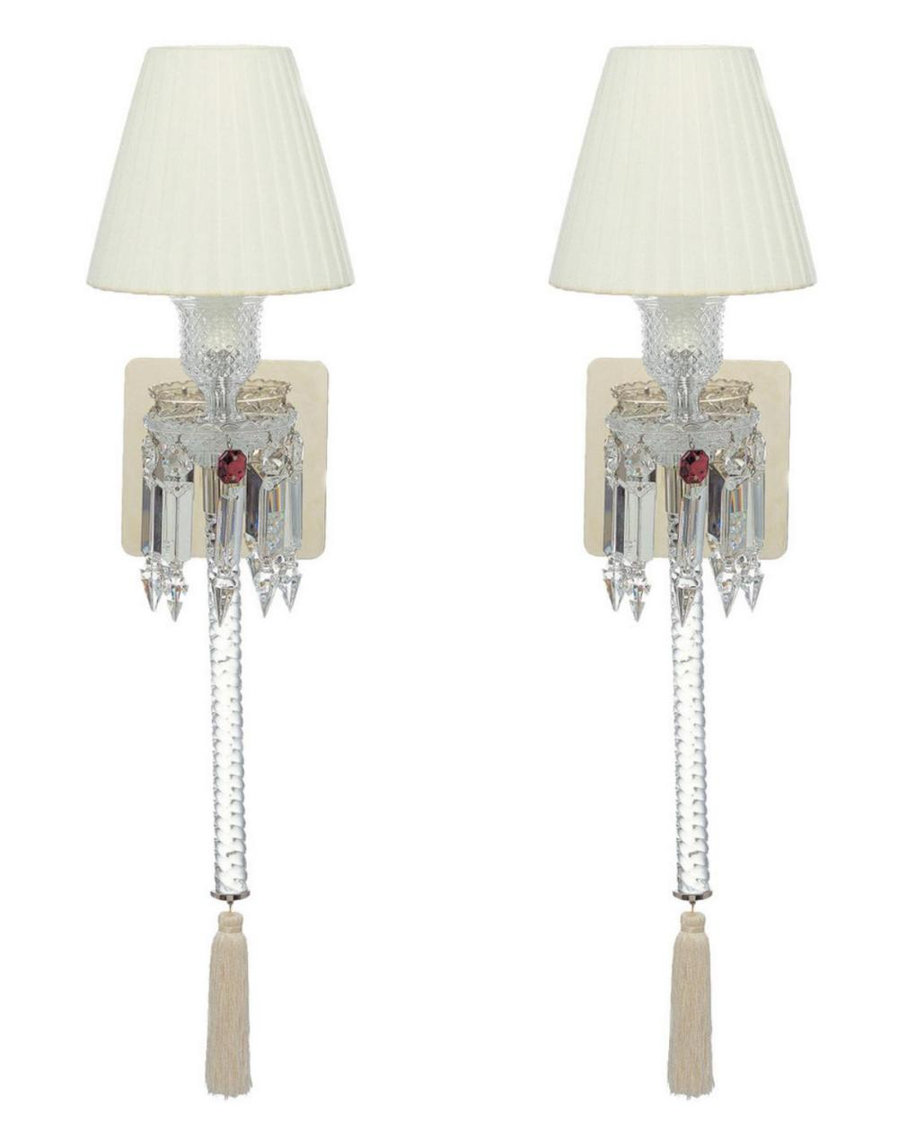 """Baccarat """"Torch"""" Crystal Wall Sconces"""