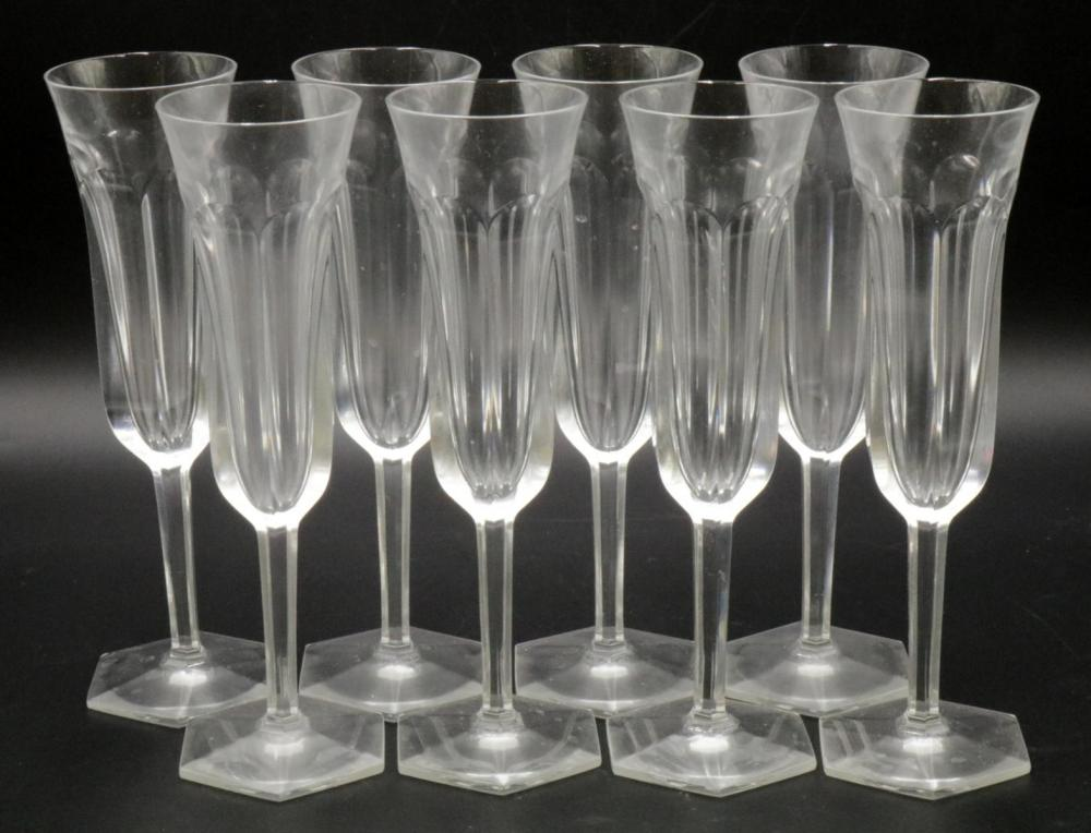 """8 Baccarat """"Malmaison"""" Crystal Fluted Champagne Glasses"""