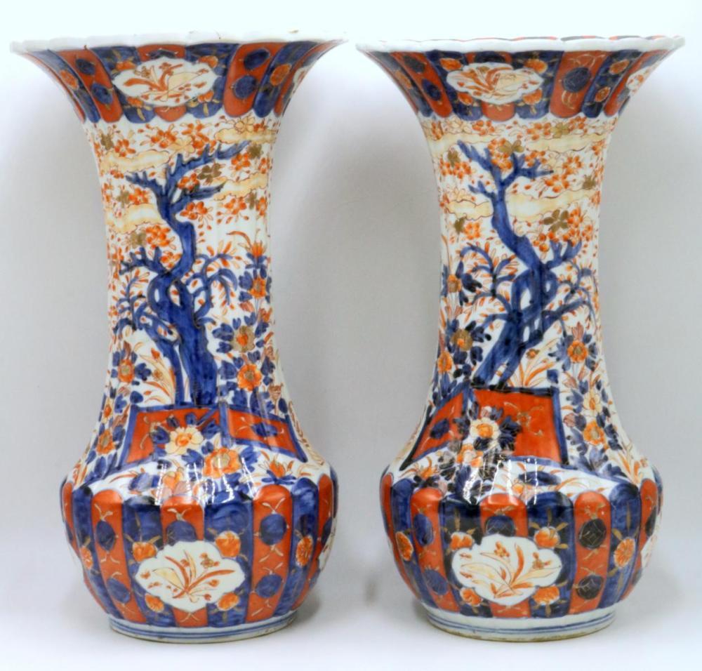 "Antique Japanese ""Imari"" Hand Painted Porcelain Vases"