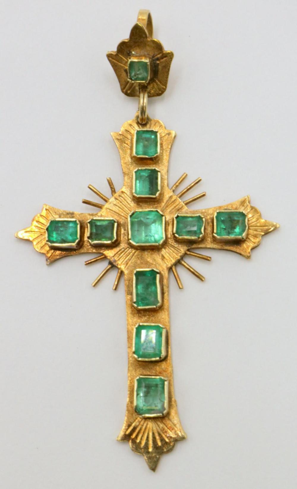 18Kt Yellow Gold & Emerald Cross Pendant