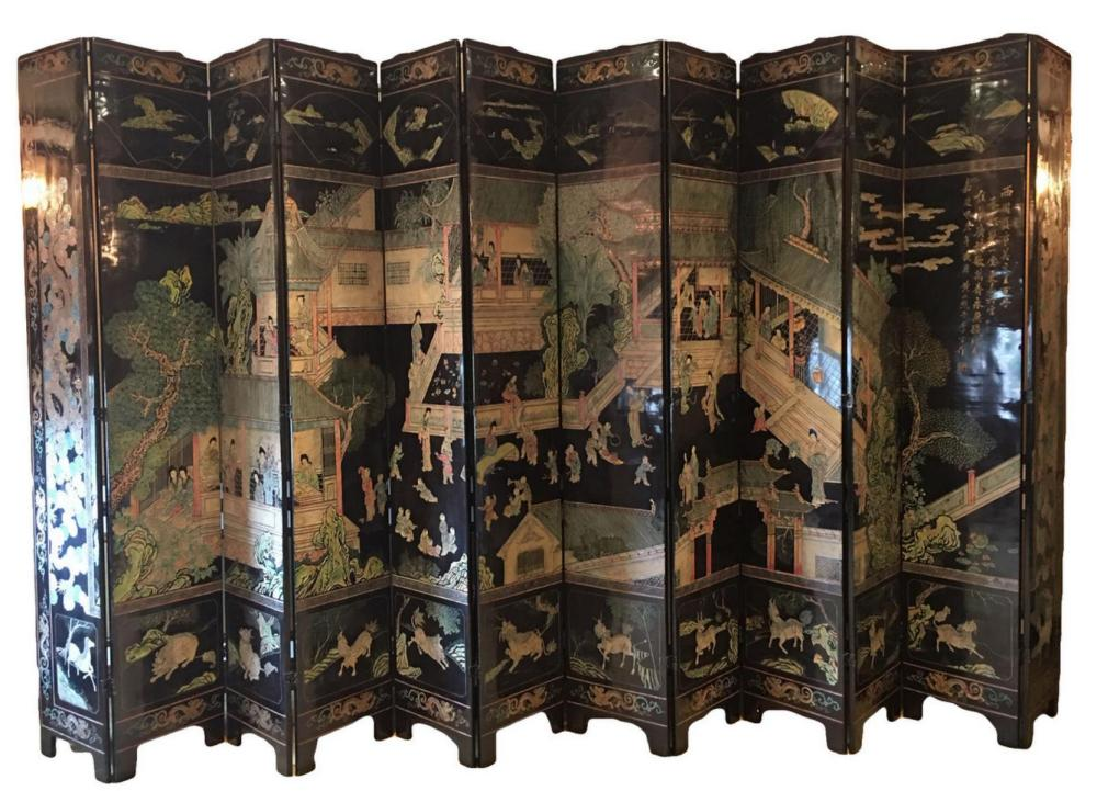 Monumental Chinese 12-Panel Black Lacquered Screen