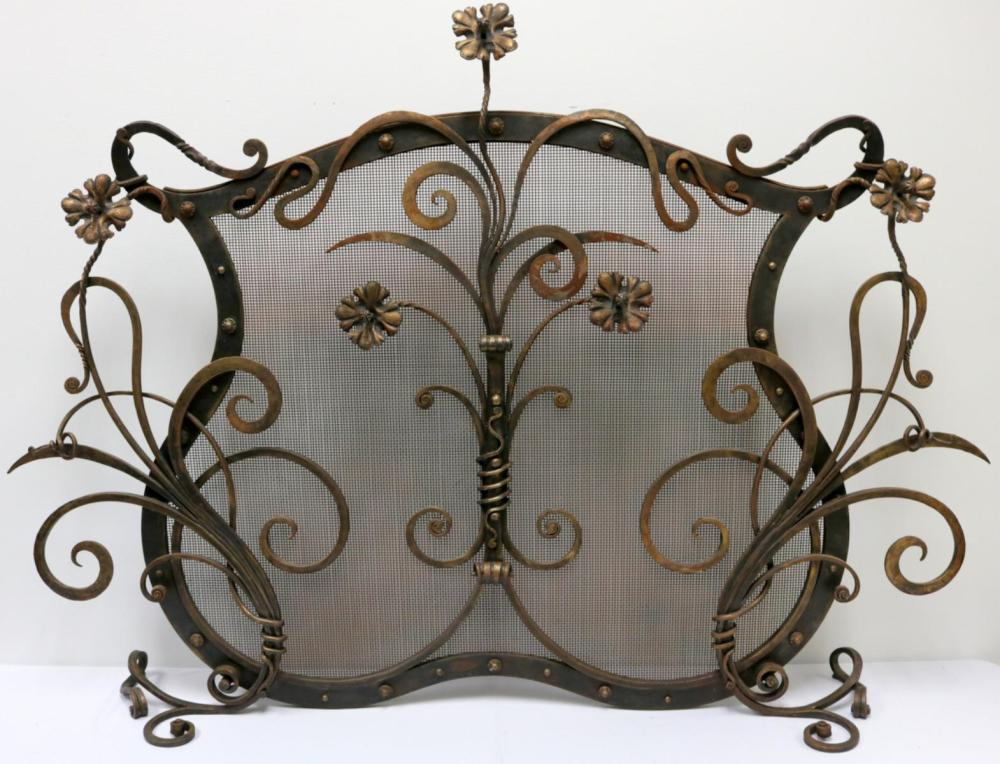 Large Floral Bronze Fire Screen