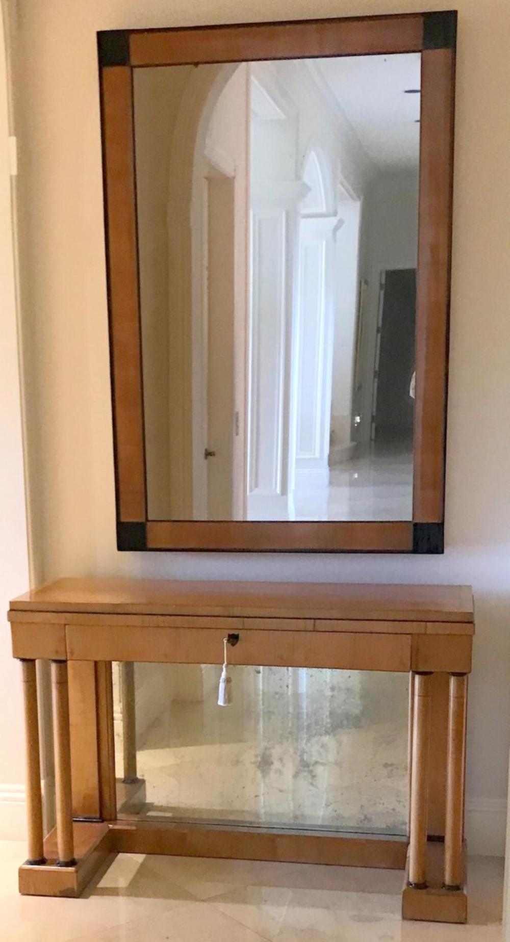 Biedermeier Fruit Wood Mirror & Console