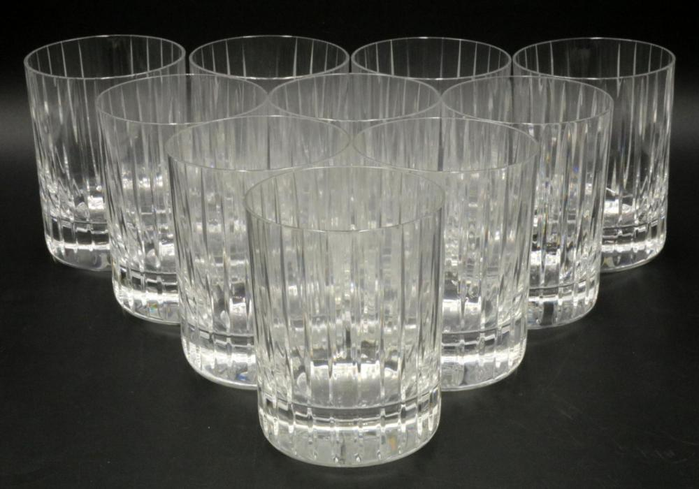 """10 Baccarat """"Harmonie"""" Crystal Double Old Fashioned Tumblers"""