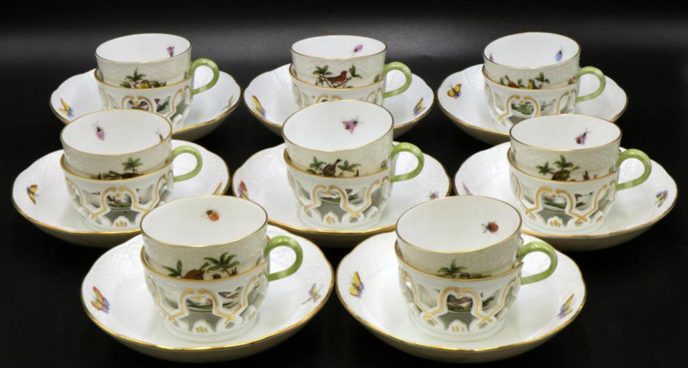 "8 Pc. Herend ""Rothschild"" Porcelain Demi-Tasse Cups & Saucers"