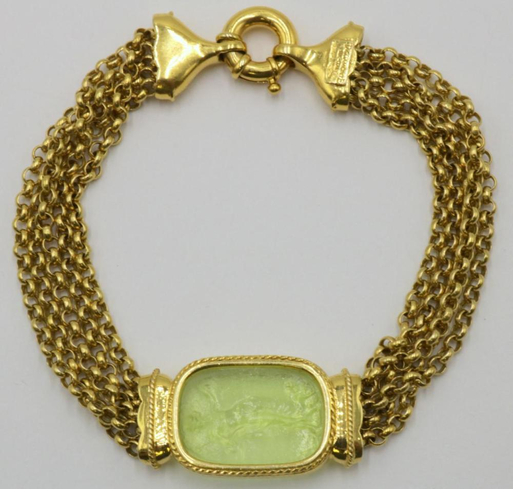 14Kt & Intaglio Peridot Bracelet