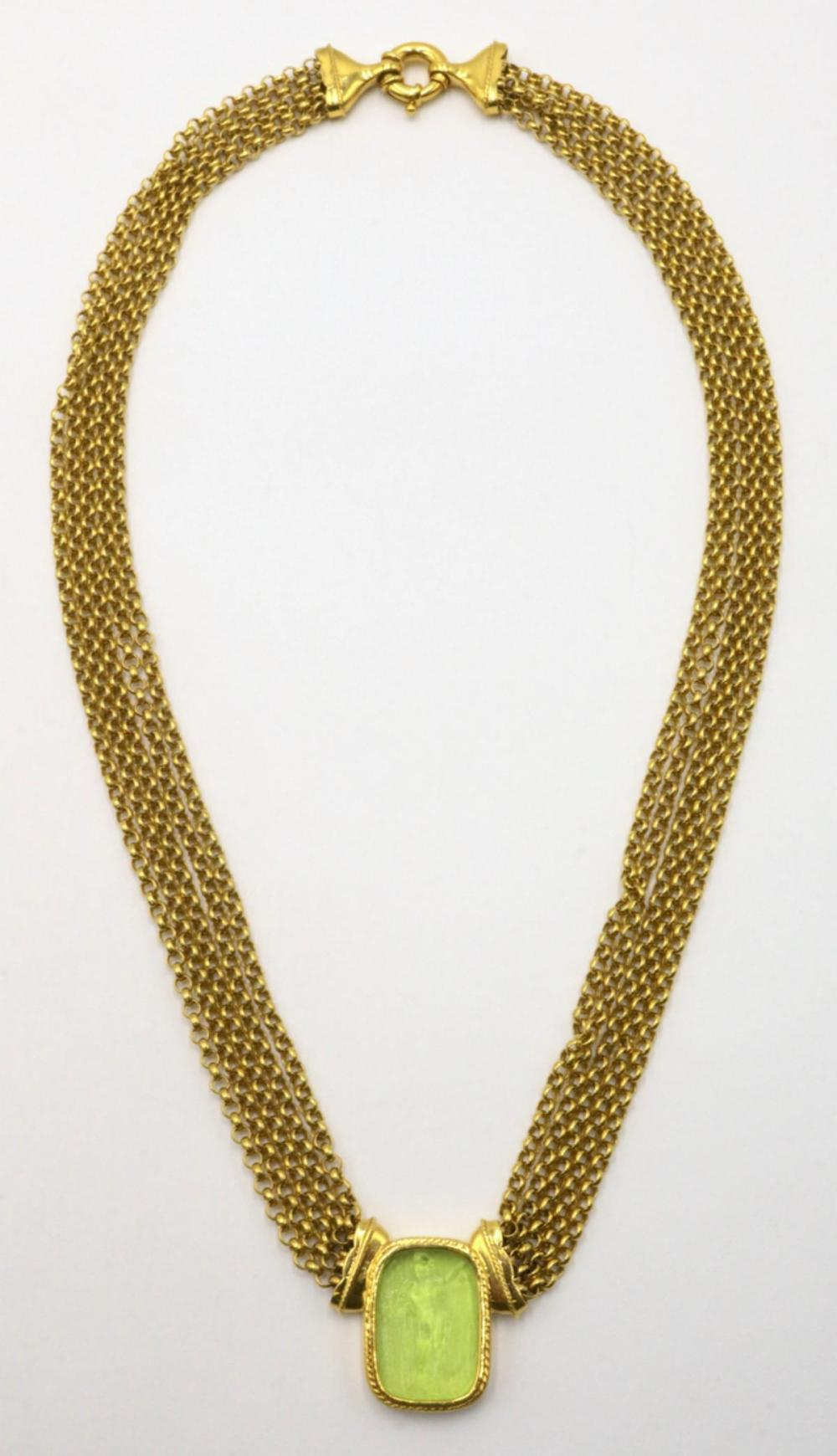 14Kt & Intaglio Peridot Necklace