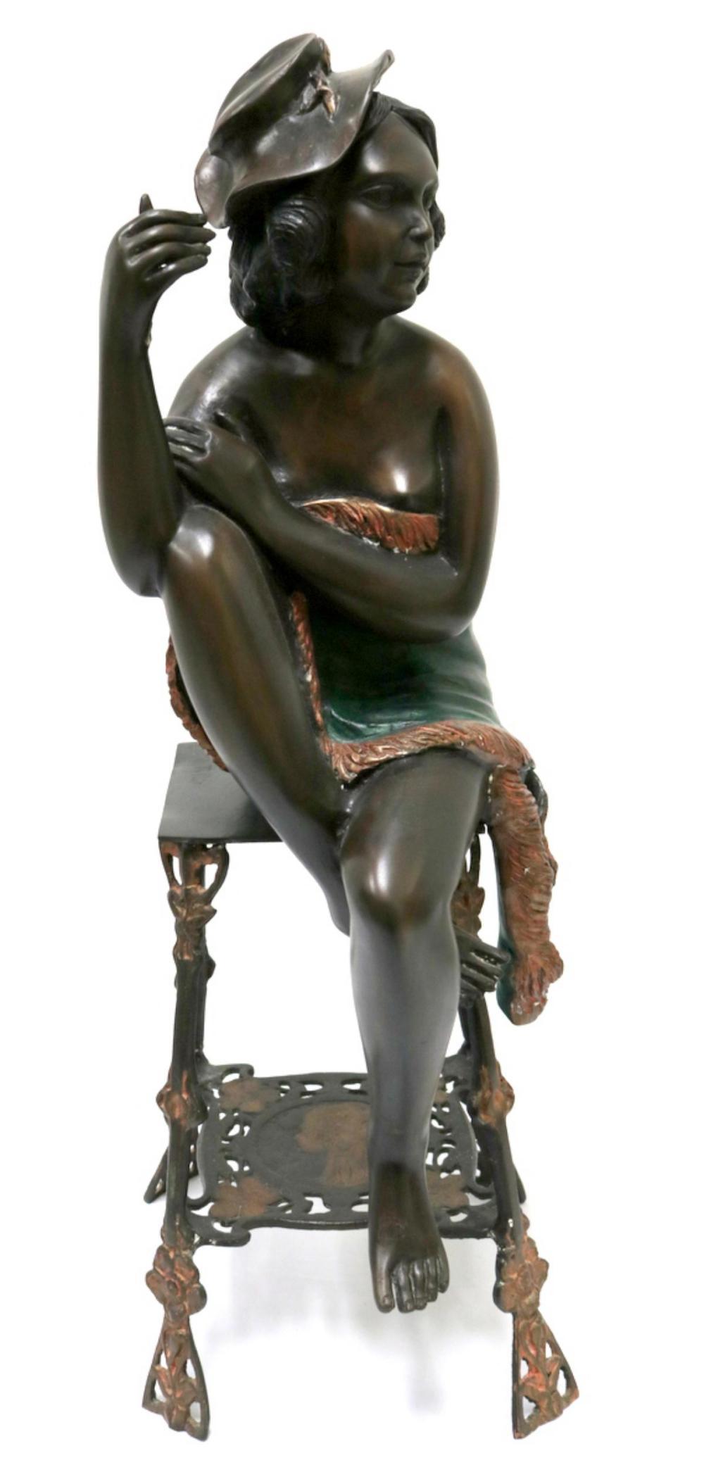 Signed Tullio Bronze Sculpture of Woman