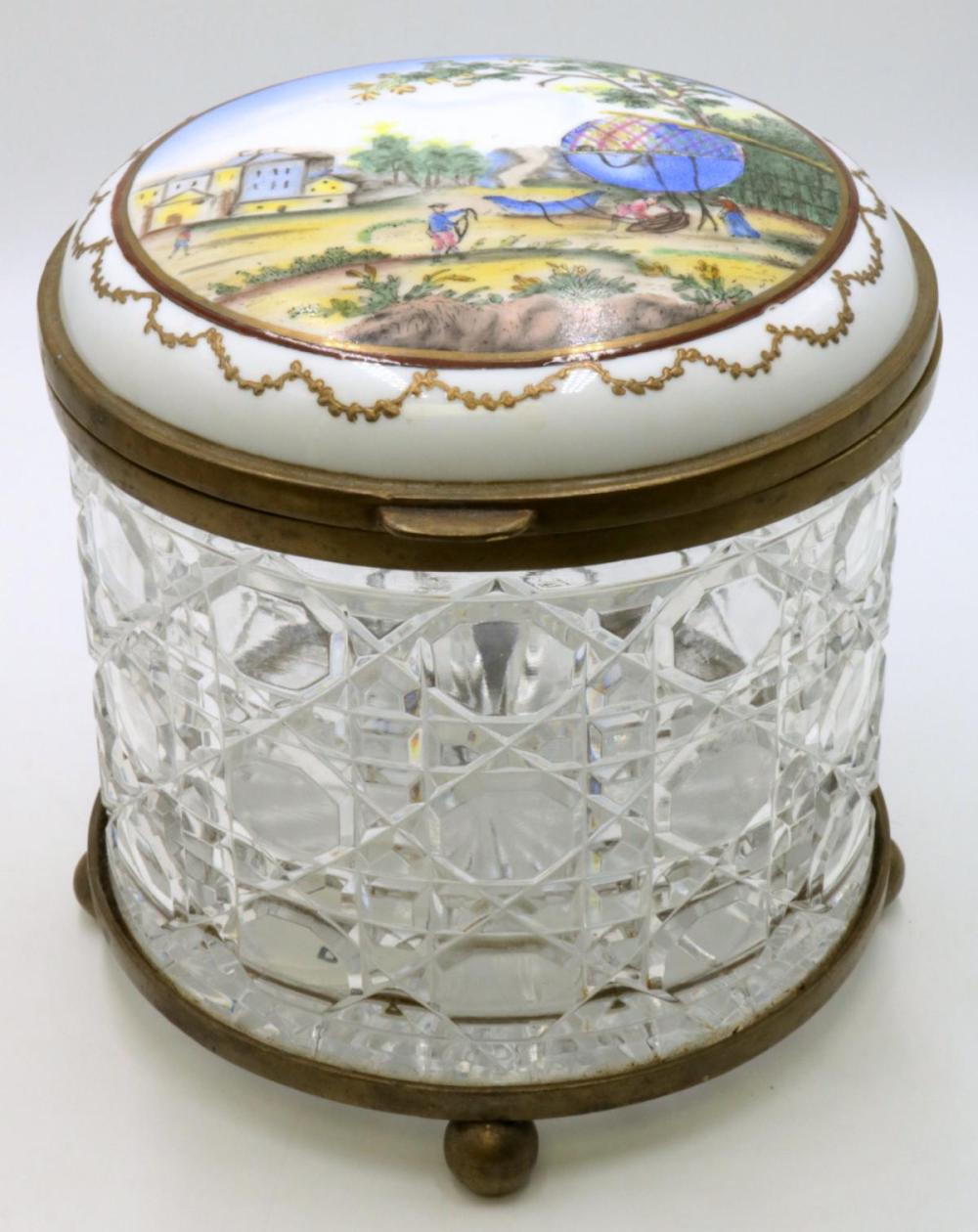 French Hand Painted Porcelain & Crystal Jar