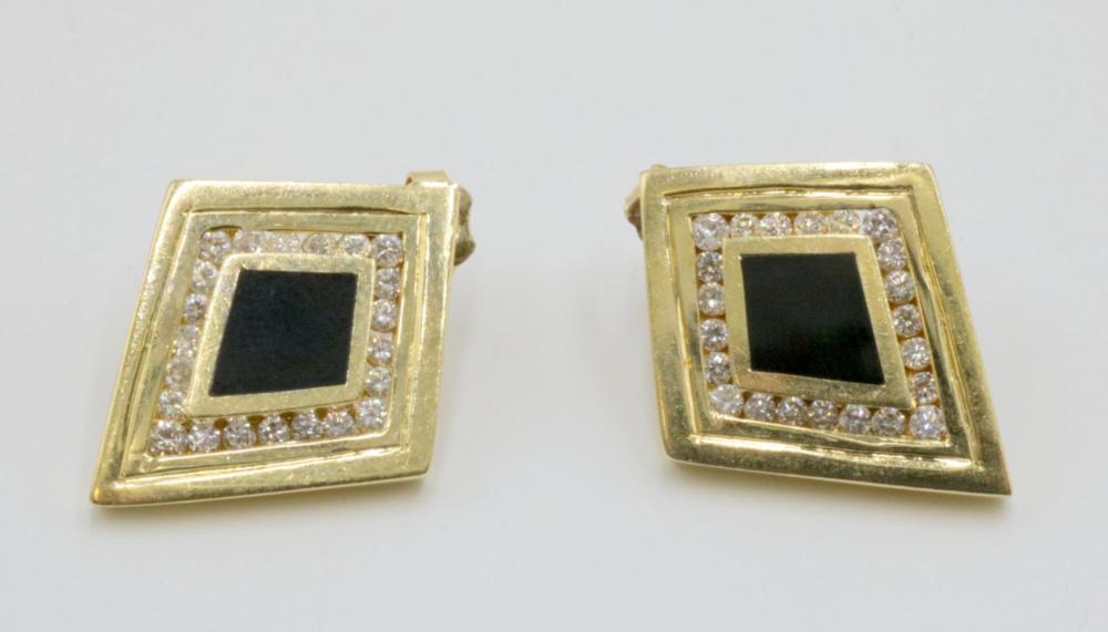 14Kt Black Onyx & Diamond Earrings