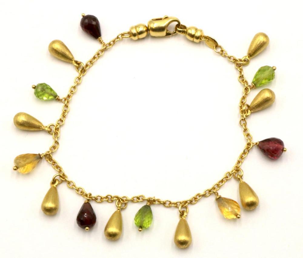 "Roberto Coin 18Kt ""Florentine"" Precious Stone Tear Drop Bracelet"