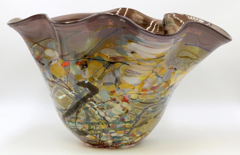 Large Signed Art Glass Vase