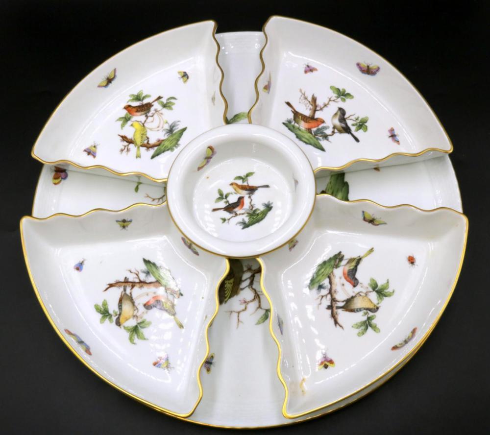"""Herend """"Rothschild"""" Porcelain Lazy Susan"""