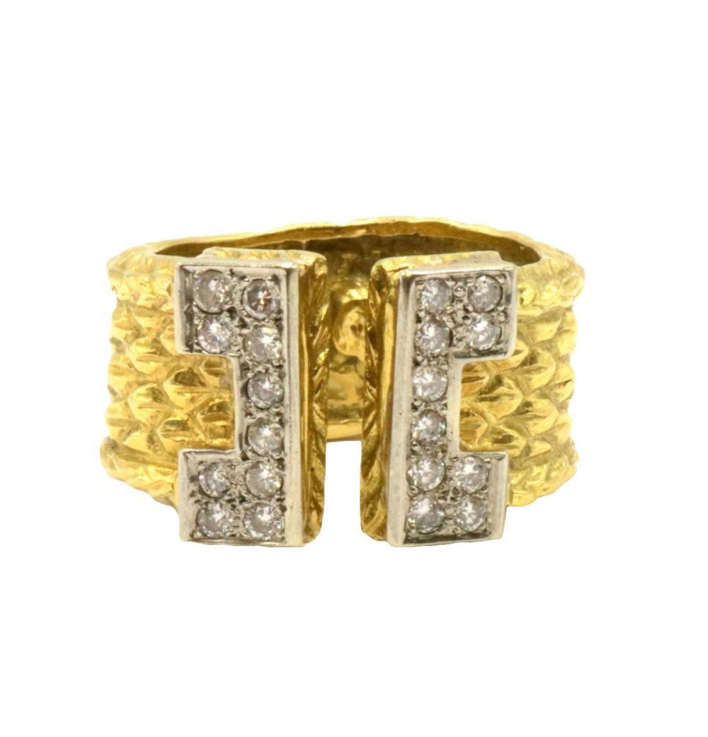 Italian Signed Edmond 18Kt Two-Tone Diamond Ring