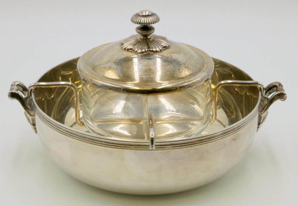 "Christofle ""Albi"" Silver Plated Caviar Serving Set"
