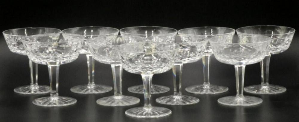 """10 Pc. Waterford """"Lismore"""" Crystal Champagne Glasses"""