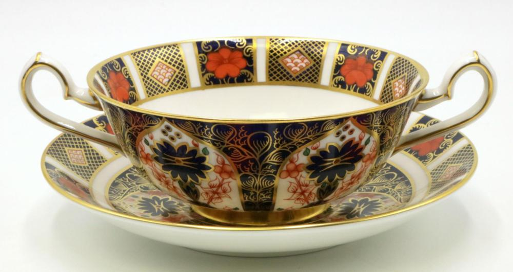 """12 Royal Crown Derby """"Old Imari"""" Soup Cups & Saucers"""