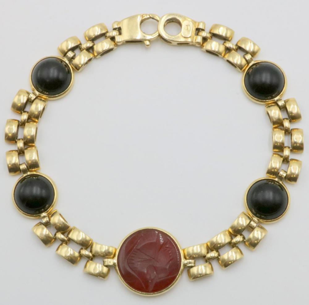 14Kt Semi-Precious Cabochon Onyx & Carnelian Bracelet