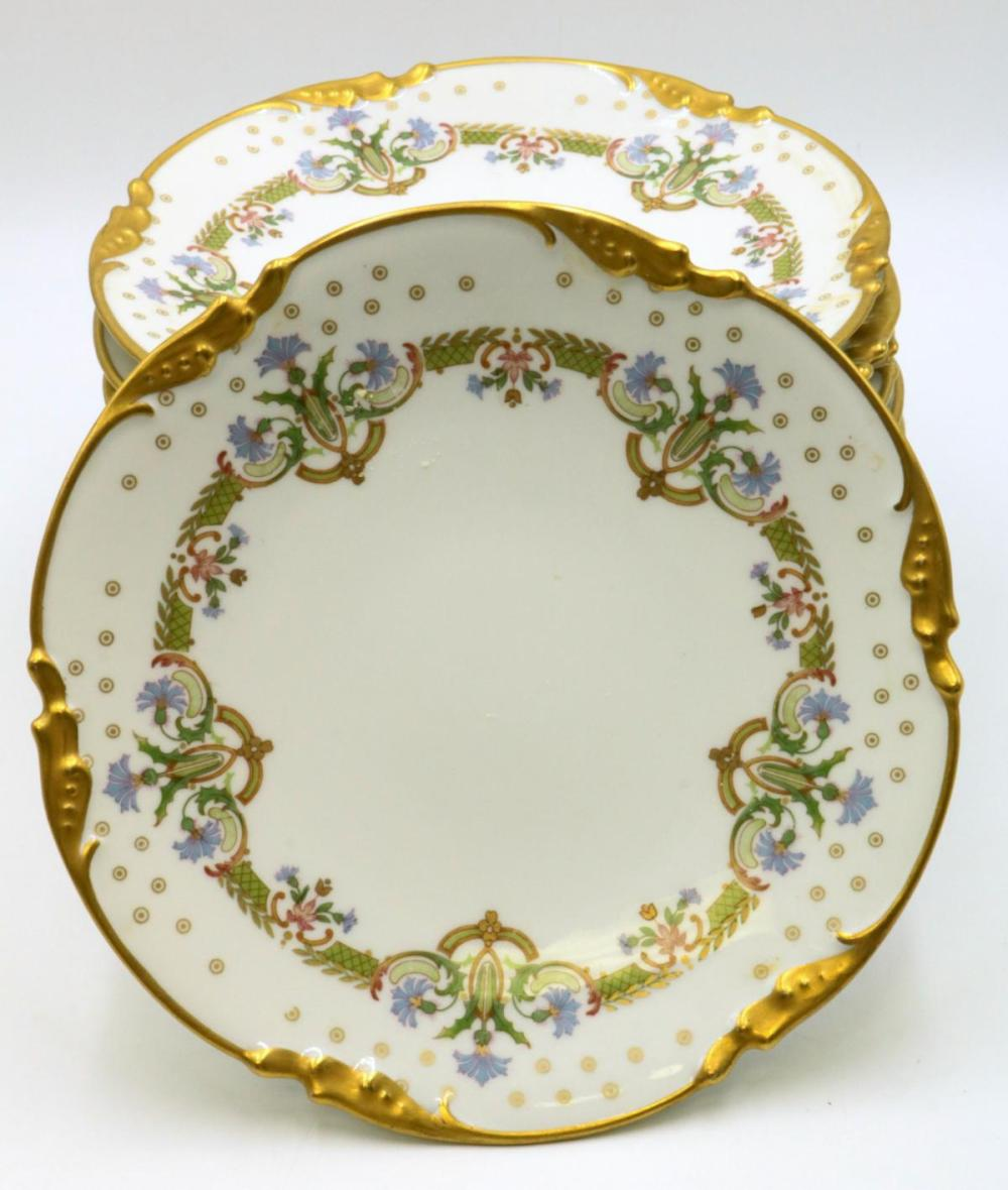 10 Pc. J Pouyat Limoges Hand Painted Porcelain Plates