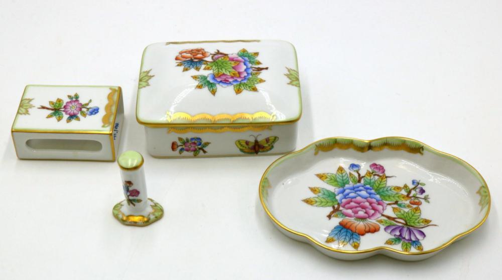 "4 Pc. Herend ""Queen Victoria"" Porcelain Smoking Set"