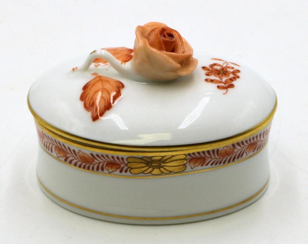 Herend Hand Painted Porcelain Pill Box