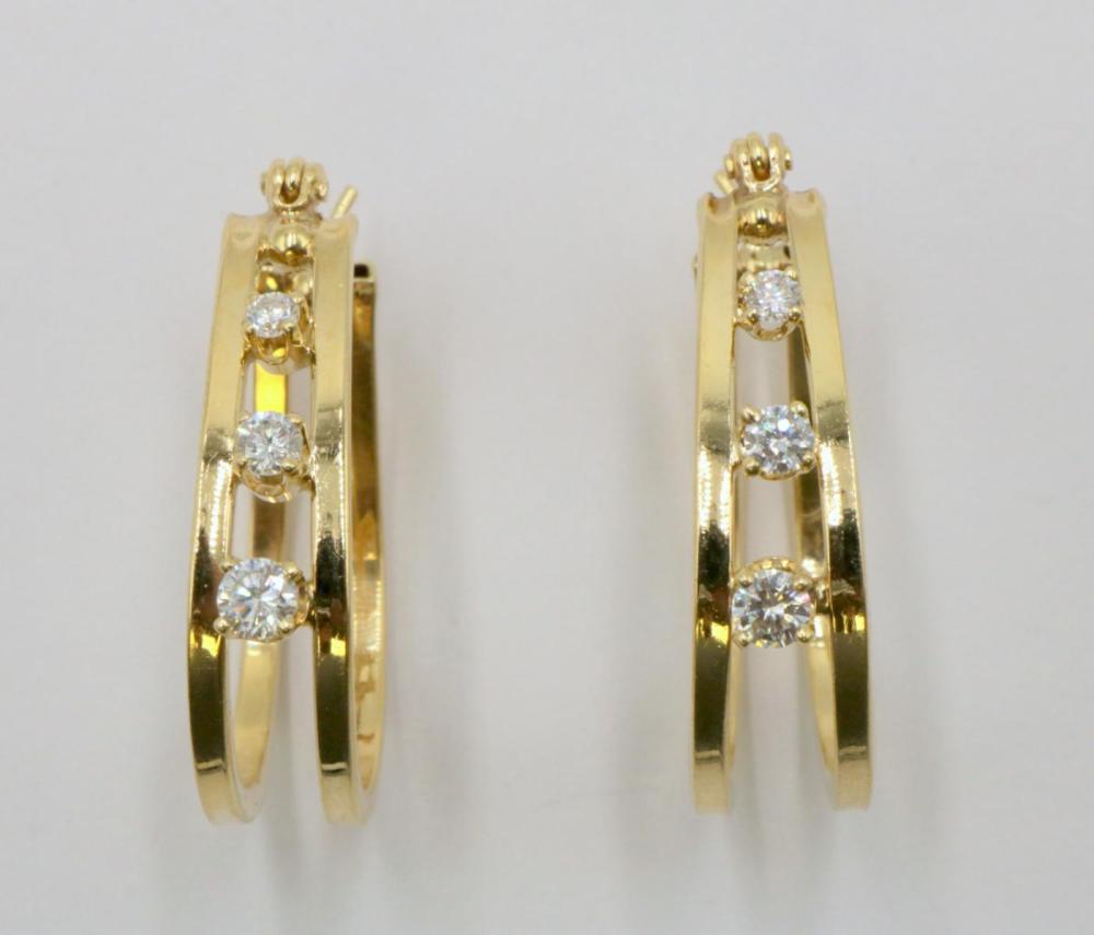 14Kt Yellow Gold & Diamond Earrings