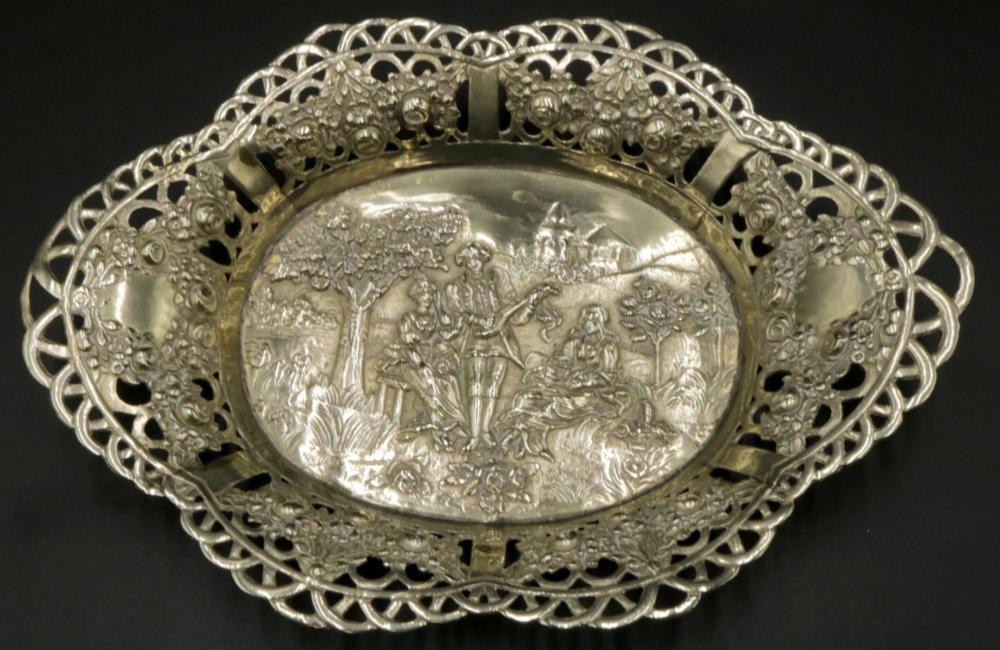German 800 Silver Pierced Dish