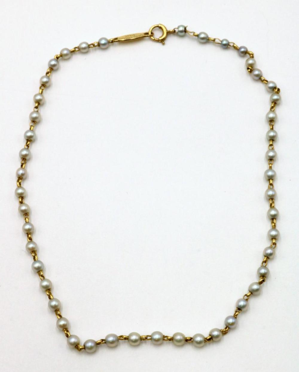 Lucien Piccard 14Kt & Pearl Ankle Bracelet