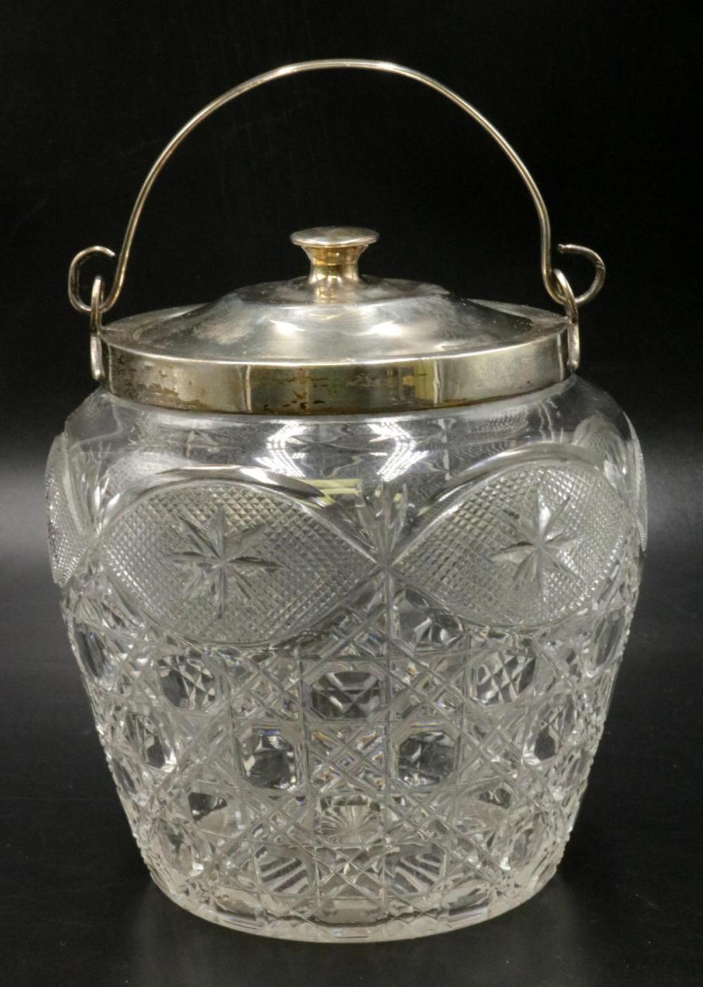 Early 19th C. Birmingham Sterling & Crystal Jar