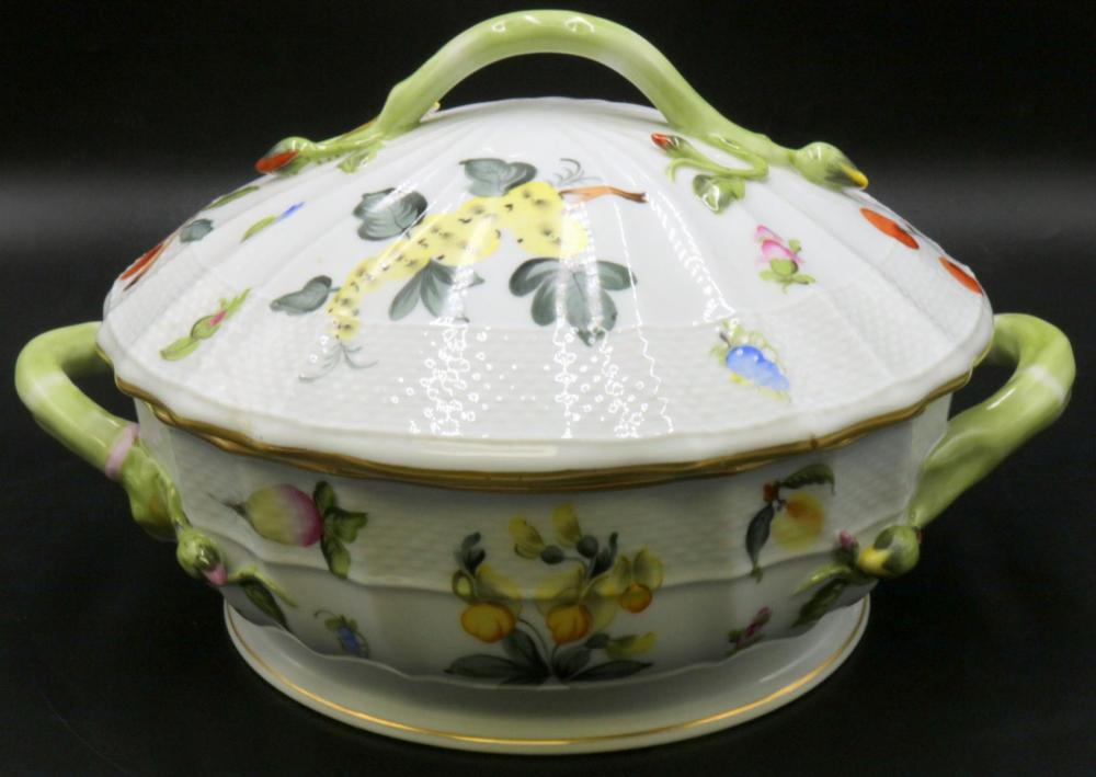 "Herend ""Market Garden"" Hand Painted Porcelain Covered Vegetable Bowl"