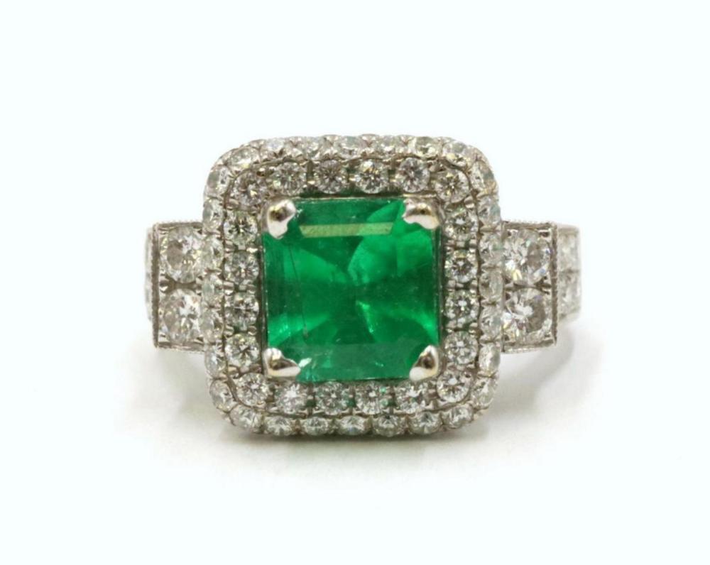 18Kt 2.03ct. Emerald & 2.80ct. Diamond Ring