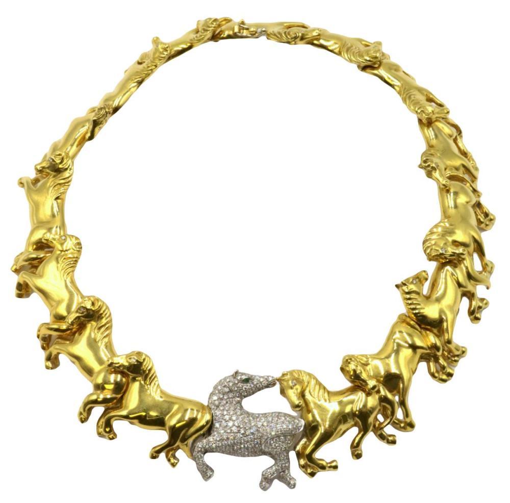 "Italian 18Kt ""Off to the Races"" Horse Diamond Collar"