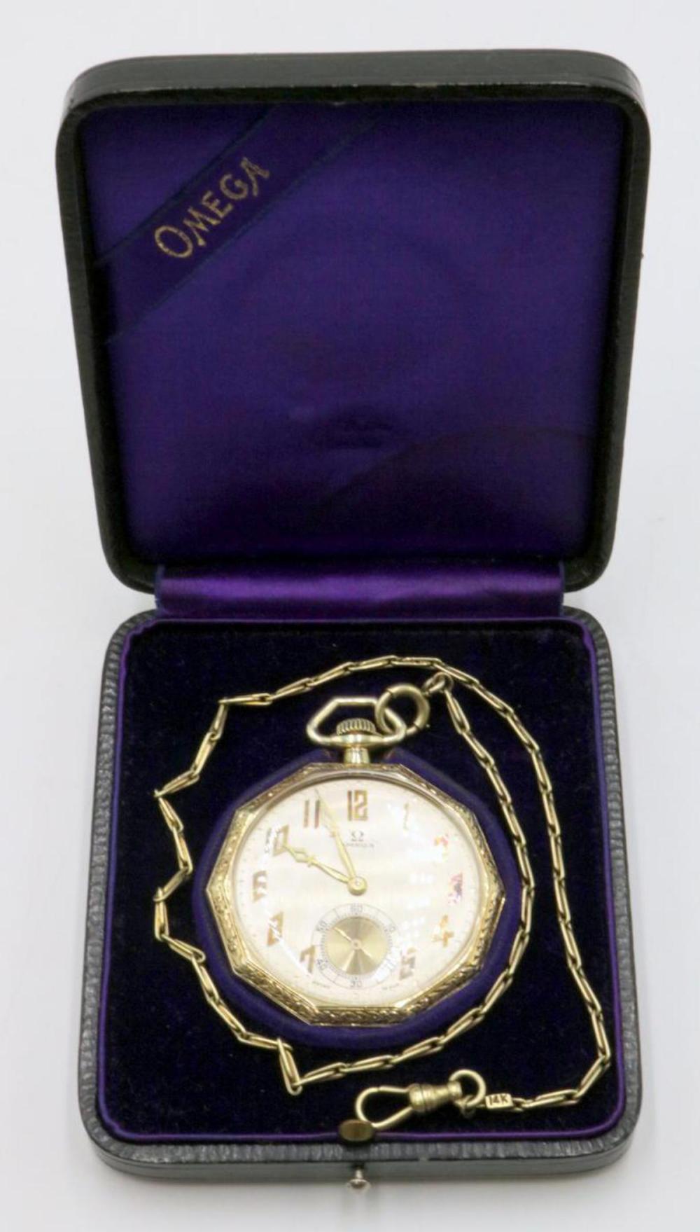Antique Omega 14Kt Pocket Watch w/ Case
