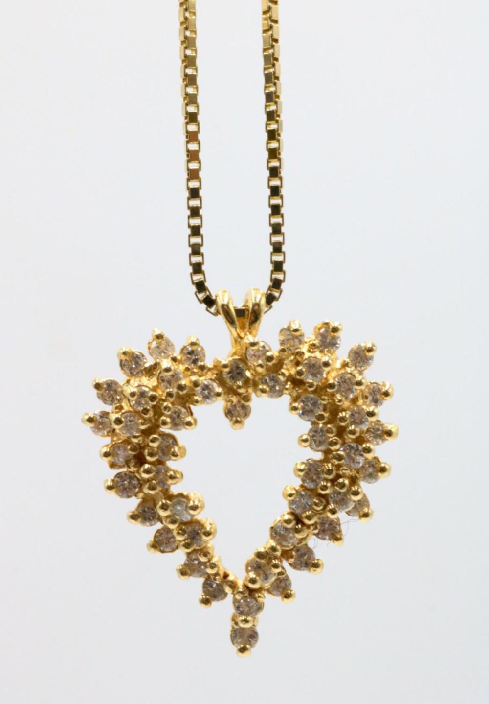 14Kt Diamond Heart Pendant w/ Necklace