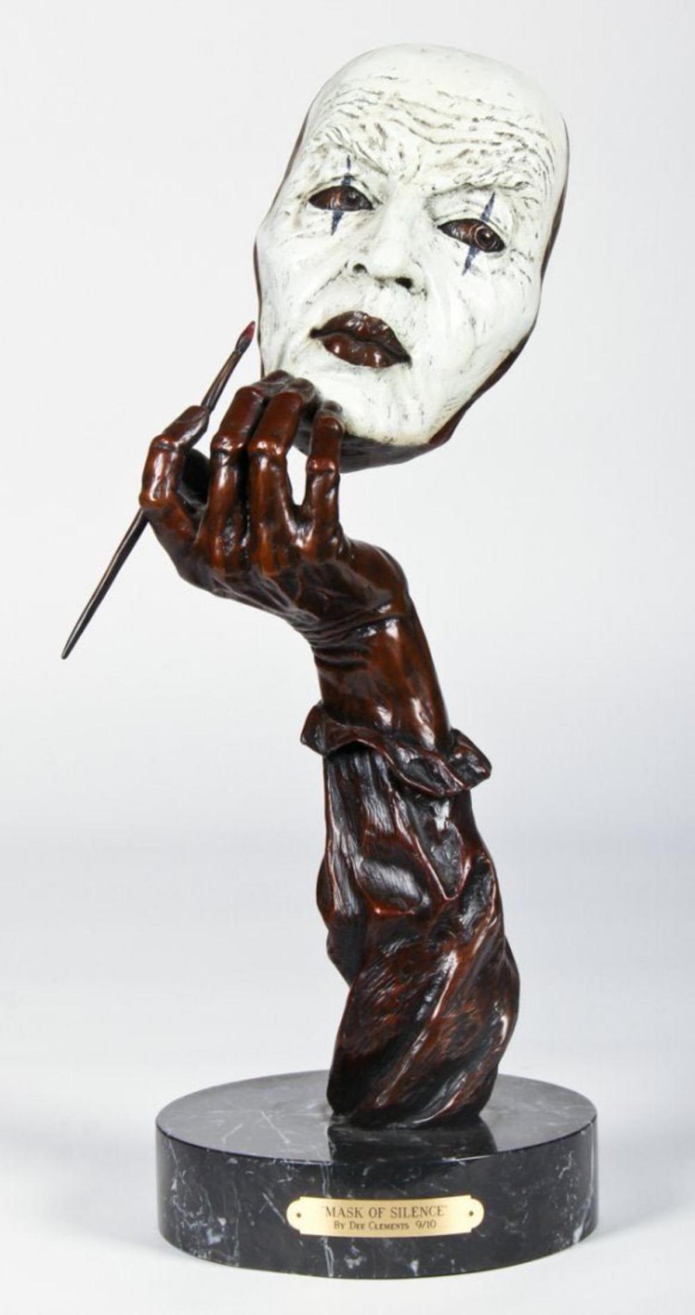 "Dee Clements ""Mask of Silence"" Bronze Sculpture"