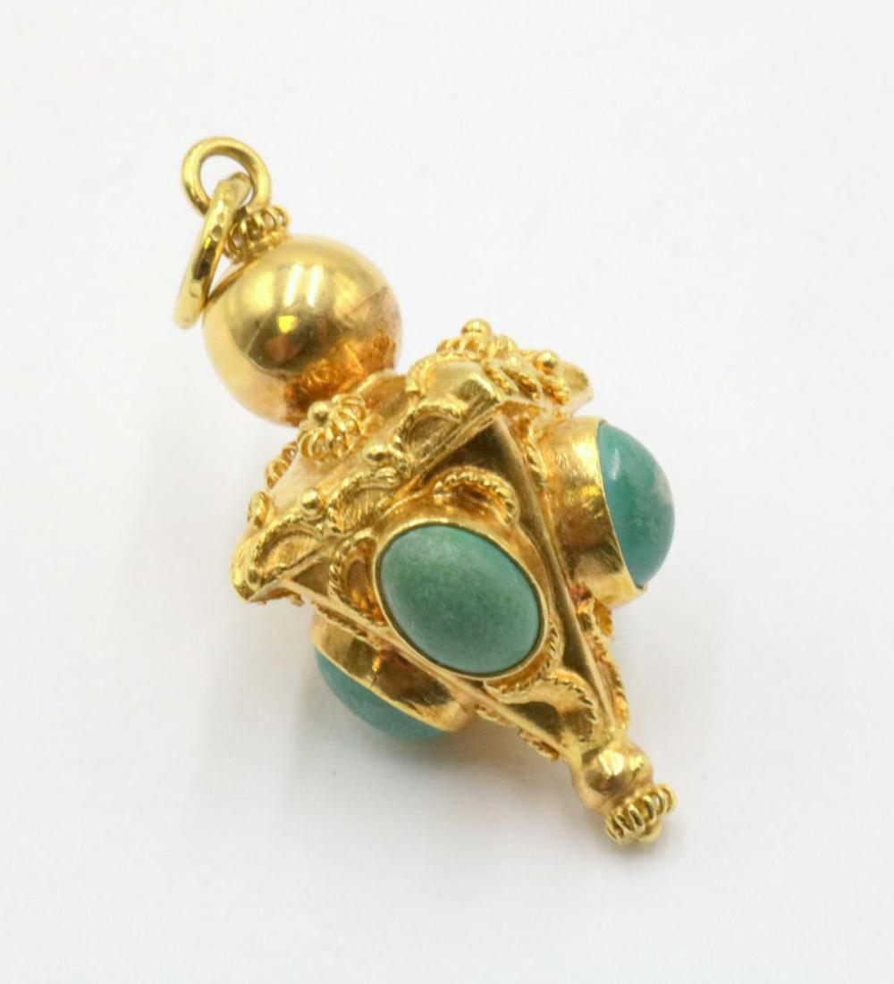 18Kt Yellow Gold & Turquoise Charm