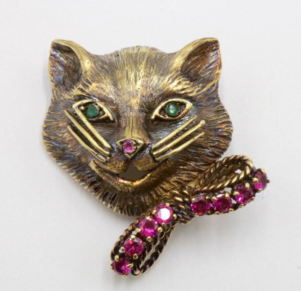 14Kt Emerald & Ruby Cat Brooch