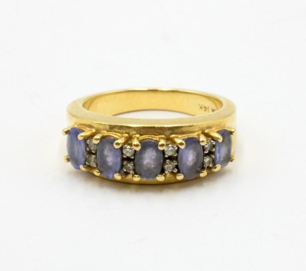 14Kt Diamond & Amethyst Ring