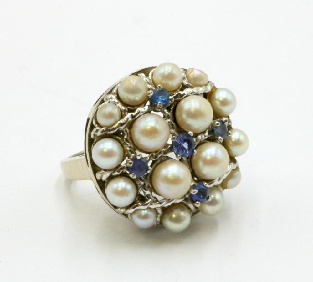 14Kt Sapphire & Pearl Ring
