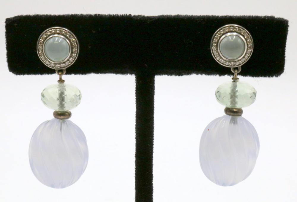 David Yurman Diamond & Moon Stone Sterling Earrings