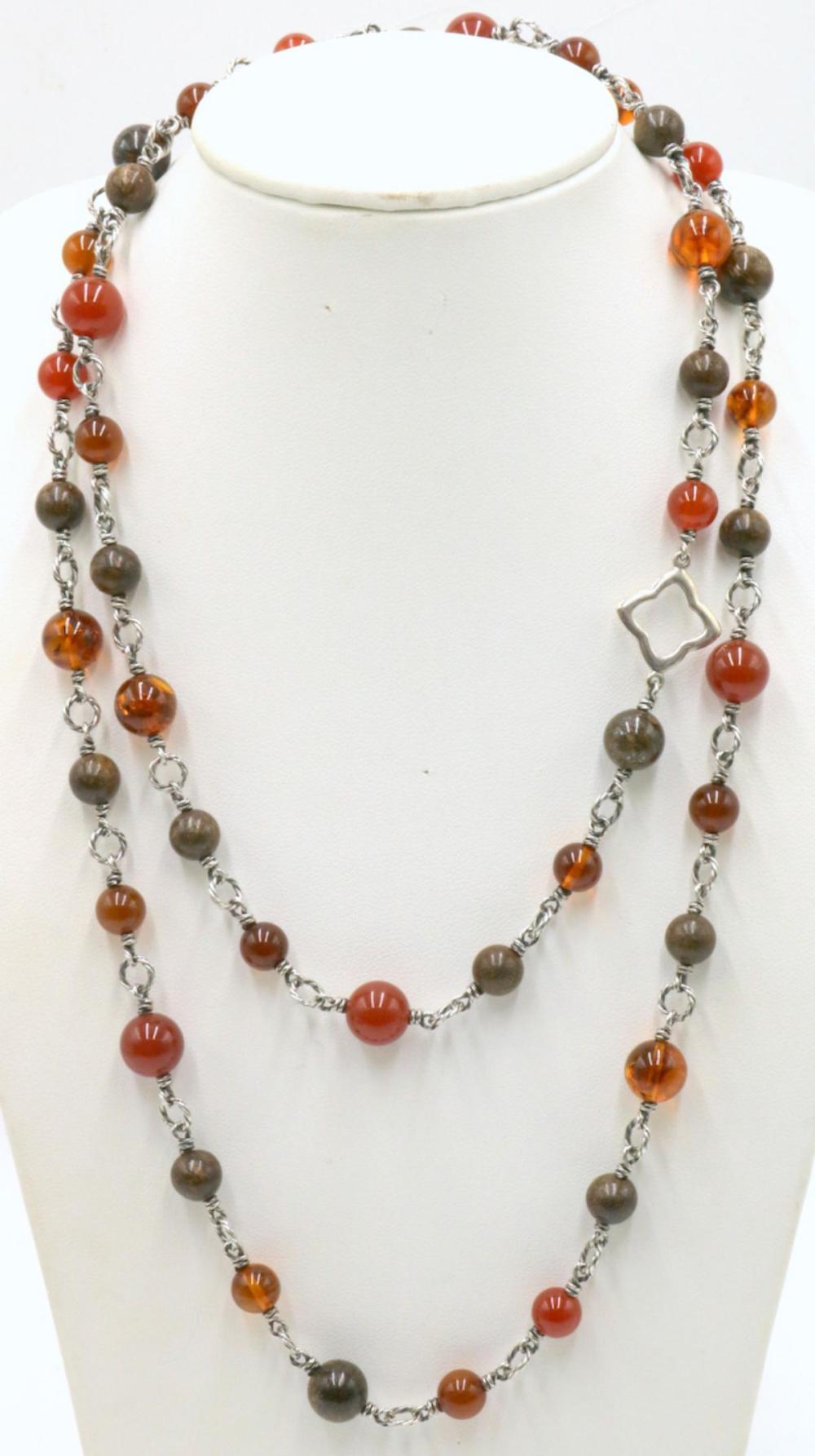 David Yurman Sterling Amber & Dinosaur Bone Necklace