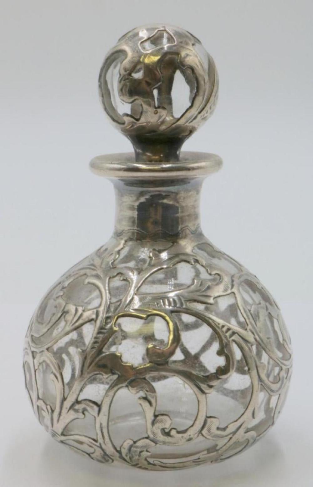 Early 20th C. Sterling Overlay Glass Scent Bottle