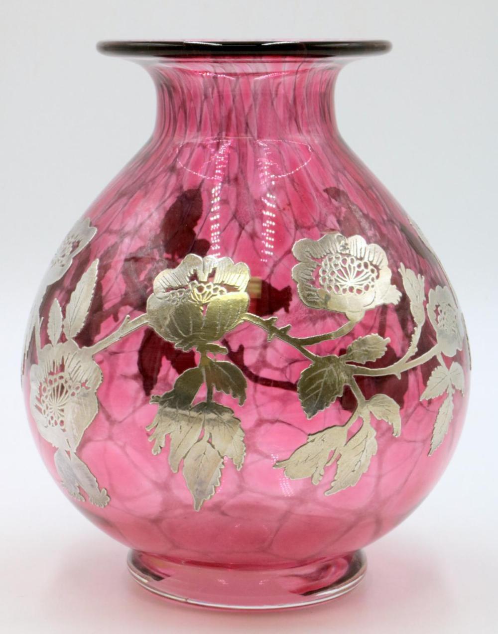 Sterling Silver Overlay Art Glass Vase