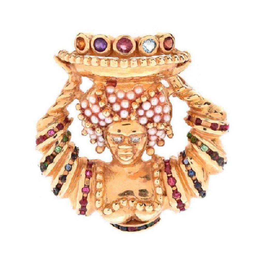 Vintage 14Kt Gemstones & Pearl Blackamoor Pendant