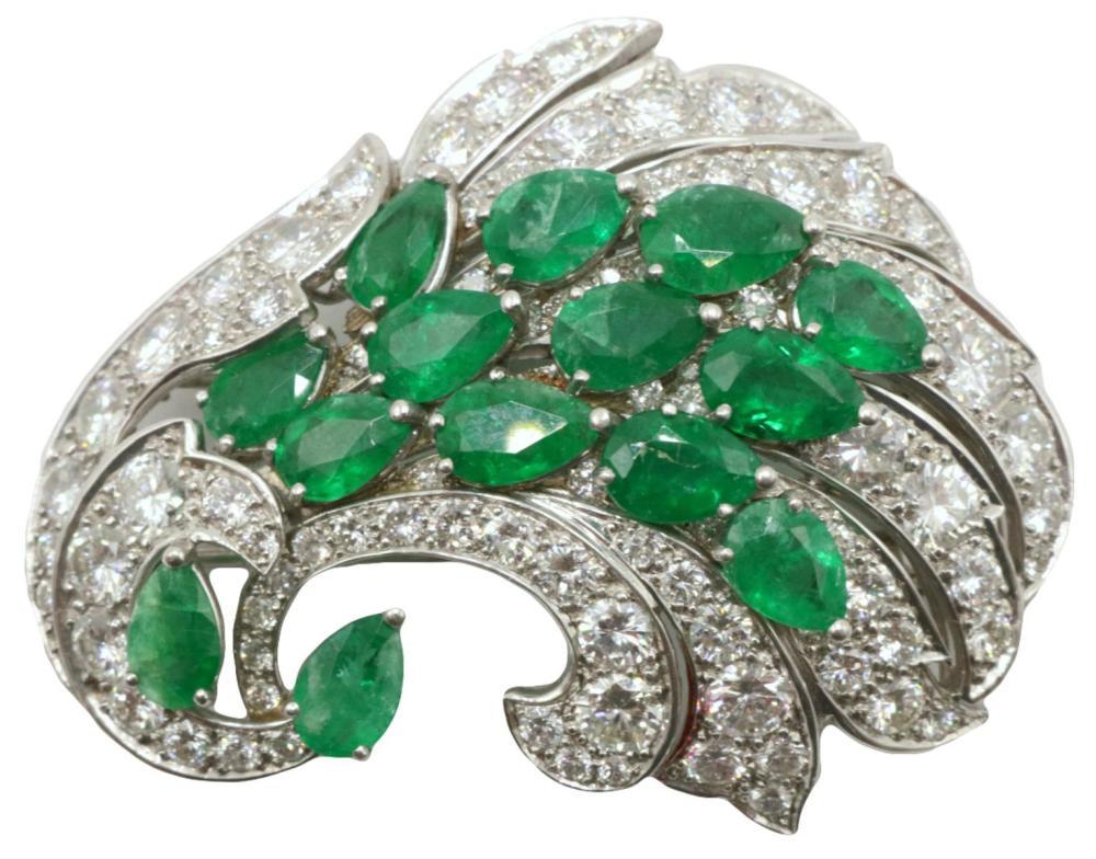Platinum 7.42ct. Emerald & 7.52ct. Diamond Brooch