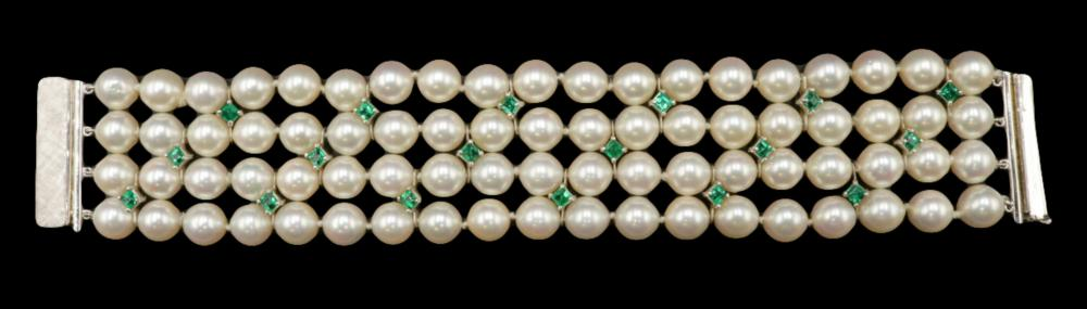 Platinum & 14Kt Pearl & Emerald 4-Strand Bracelet