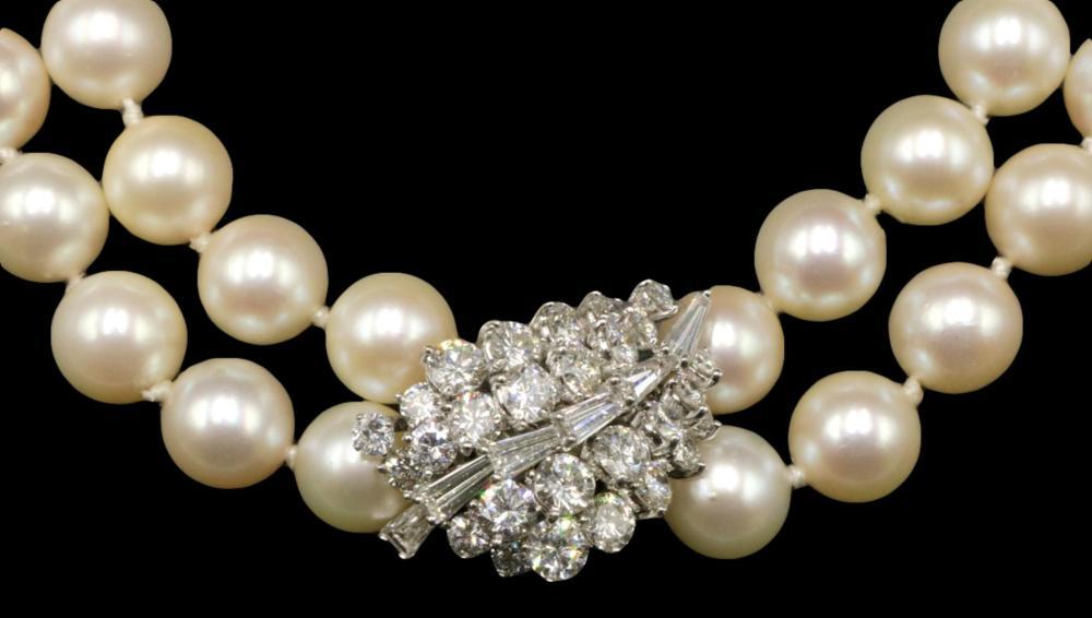 Platinum 4.64ct. Diamond & Pearl Necklace