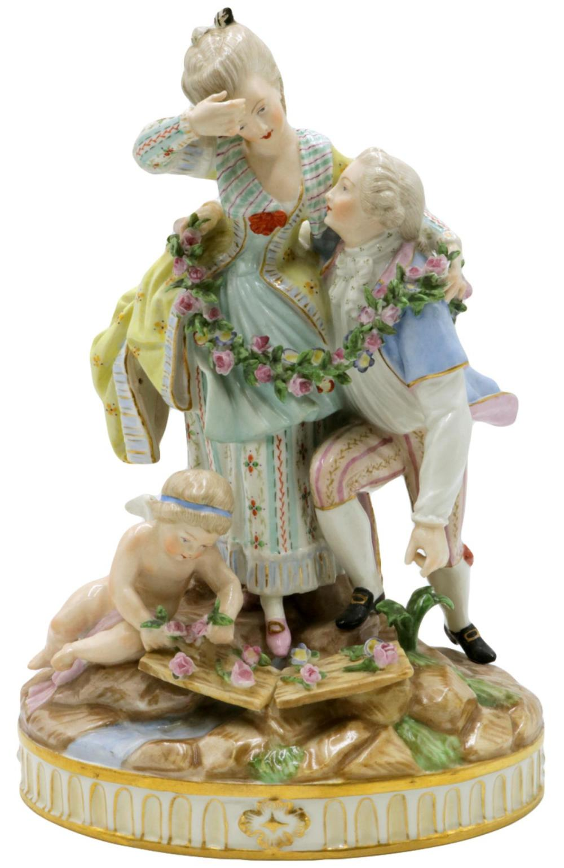 Antique Meissen Hand Painted Porcelain Group