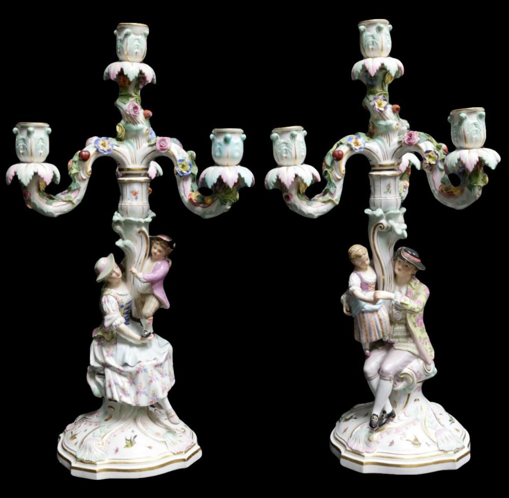 Antique Meissen Porcelain Candelabras